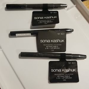 3 pcs Sonia Kashuk retractable 2 in 1 lip brush